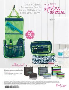 Be thinking about hosting a party in April ladies! When your party sales reach $600 you can qualify for special pricing on this bundle! Plus free and 1/2 priced items! Just contact me for more information! Visit my site mythirtyone.com/laurenmanis