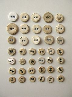 Old white buttons