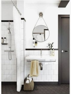 Bathroom Mirrors Ideas : Decor & Design Inspirations for Bathroom Hexagon tile bathroom Modern bathroom Concrete benchtop Badrum inspiration White bathroom Spiegel toilet Interior Exterior, Home Interior, Bathroom Interior, Design Bathroom, Bathroom Styling, Bath Design, Interior Decorating, Scandinavian Interior, Decorating Ideas