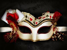 Mix Color Suit Symbols / Playing Cards Masquerade Mask -  Venetian Style Beaded Mask - For Masquerade Ball, Prom, Halloween