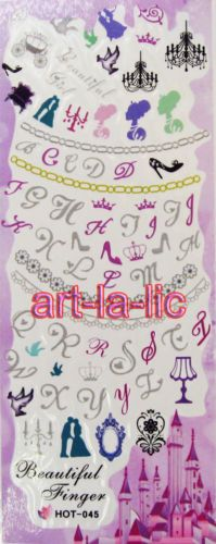 Nail-Art-Decals-Stickers-Water-Transfer-Flower-Kitty-Lace-Princess-Tips-HOT-A