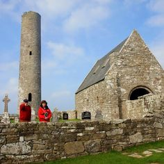 11th/12th century round tower and church, Holy island, Lough Derg, Co. Clare, Ireland