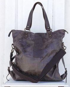 aed3325d96 Ariel, borsa in pelle effetto lavato, testa di moro