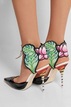 Sophia Webster | Rousseau Jungle printed satin and patent-leather sandals | NET-A-PORTER