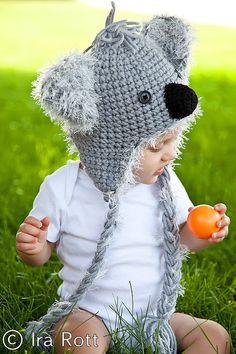 Handmade crocheted animal hat or marsupial hat.    Adorable Koala Bear Hat is original design by Ira Rott.