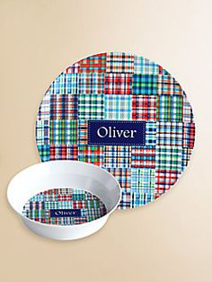Preppy Plates  Personalized Blue Madras Plate and Bowl Set