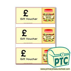 Candy Store / Sweet Shop Role Play Resources - Primary Treasure Chest Shopping Vouchers, Gift Vouchers, Teaching Activities, Teaching Ideas, Play Corner, Ourselves Topic, Candy Store, Role Play, Treasure Chest