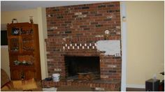 Fireplace renovations ideas do it yourself fireplace remodels my fireplace is similar with the brick that goes up to the ceiling i have a wooden mantle solutioingenieria Image collections