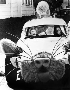 Eartha Kitt and Cesar Romero as Catwoman and The Joker in the Kitty Car in the Batman TV series, 1960s.