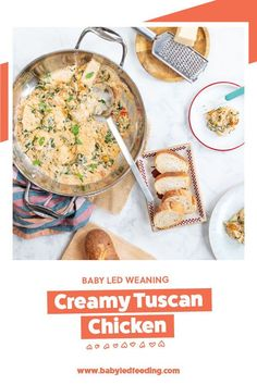 Easy and healthy family dinner idea- Creamy Tuscan Chicken. Made with healthier ingredients like cottage cheese and Greek yogurt. #healthydinner #healthymeals #babyledweaning #babyledfeeding