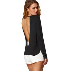 Sexy Woman Blouses Summer Style Backless Casual Shirts Long Sleeve Black Split Side Cut Out Crew Neck Blouse Like if you remember Get it here Backless Top, Backless Shirt, Big Fashion, Fashion Outfits, Night Outfits, Spring Fashion, Sheer Clothing, Types Of Dresses, Look Chic