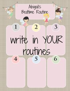 INSTANT DIY My Routine Girl Theme Morning by TwoLaughingLambs, $2.50 Kids School Organization, Girl Themes, Bedtime Routine, Childcare, Charts, Behavior, Writing, Handmade Gifts, Diy