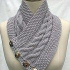 Neck Warmer Scarf Gray Hand Knit Cables Buttons Women Ladies Teens