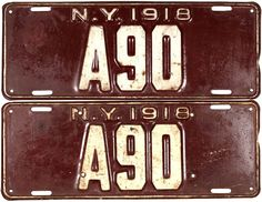 A pair of early New York car license plates being maroon and white in color, the DMV passenger auto tags are long and made of heavy metal. Classic Ford Trucks, Ford Pickup Trucks, Lifted Trucks, Chevy Trucks, Truck Drivers, Ford Explorer Accessories, Food Truck Interior, Car License Plates, Licence Plates