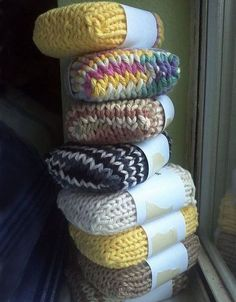 Knitted Soap Socks. You can send your friend the knitted soap sock to show off your knitting skill and bring something useful for your friends without extra spending.