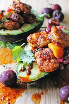 Spicy shrimp and mango cherry salsa avocado boats // Rhubarbarians