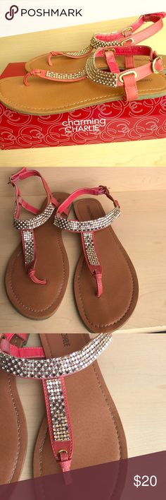 🌺$20.00 Bling Coral Sandal🌺 This is a cute and comfortable sandal. This is a size 9 but fits like a size 10. Charming Charlie Shoes Sandals