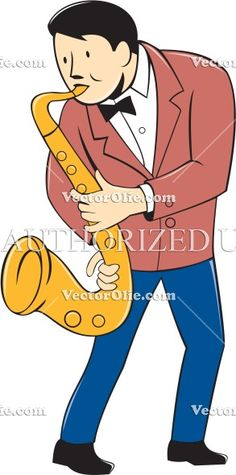 Musician Playing Saxophone Cartoon Cartoon Stock Illustration