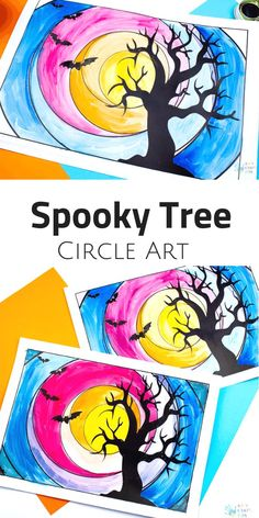 Spooky Tree Circle Art : Arty Crafty Kids Spooky Tree Circle Art for Halloween. Explore cool and warm shades with this simple template design. Perfect Art Project for kids exploring colour mixing and colour shades artforkids kidsart halloween Spooky Tree Halloween Kunst, Halloween Art Projects, Halloween Activities For Kids, Fall Art Projects, Art Activities, Projects For Kids, Simple Art Projects, Art Project For Kids, Kids Crafts
