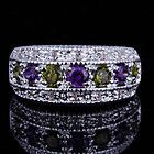 82HR7-6 3.5 * 3.5mm Round Cut Peridot  Amethyst Gemstone Silver Ring Size 6 - amp, 3.5mm, 82HR76, Amethyst, Gemstone, peridot, Ring, Round, silver, Size