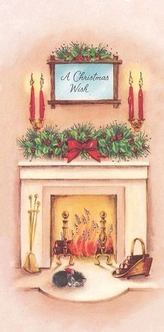 Vintage Greeting Card Christmas Home Interior Glowing Fireplace Cat Kitten Vintage Greeting Cards, Vintage Christmas Cards, Retro Christmas, Vintage Holiday, Christmas Greeting Cards, Christmas Postcards, Christmas Scenes, Christmas Past, Christmas Wishes