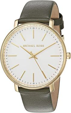 Michael Kors Women's Stainless Steel Quartz Watch with Leather Calfskin Strap Breitling Watches Women, Big Face Watches, Burberry Watch, Casual Watches, Beautiful Watches, Quartz Watch, Rolex, Michael Kors, Stainless Steel