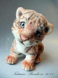 Needle felted Tiger by Tatiana Barakova.