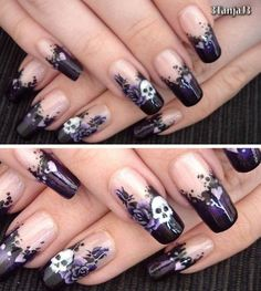 Skull nail designs to match your spooky halloween costume. Skull Nail Designs, Skull Nail Art, Skull Nails, Halloween Nail Designs, Halloween Nail Art, Cool Nail Designs, Acrylic Nail Designs, Spooky Halloween, Halloween Makeup