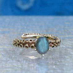 10k & 14k Gold Octopus Tentacle Ring with a Labradorite stone