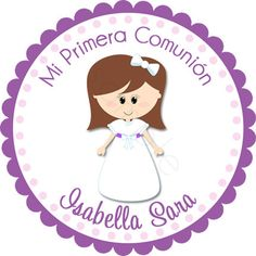 Personalized My First Communion Girl Stickers Party por partyINK