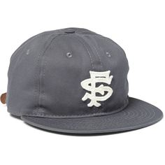 Ebbets Field Flannels San Francisco Seals 1949 Appliquéd Wool-Twill... ($75) ❤ liked on Polyvore featuring mens, men's accessories, men's hats and grey