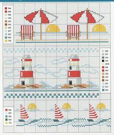 Faro e ombrelloni a punto croce Cross Stitch Sea, Cross Stitch Bookmarks, Cross Stitch Borders, Cross Stitch Kits, Cross Stitch Designs, Cross Stitching, Cross Stitch Embroidery, Embroidery Patterns, Cross Stitch Patterns