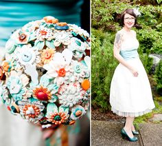 Wedding Dress with Blude Sash and Button Flower Bouquet