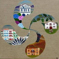 "CATHY & DOMI (Biarritze Lapurdi). ""Euskal Lauburu"" Bilbao, Bay Of Biscay, Basque Country, Art Original, Country Art, My Heritage, Art Plastique, Travel Posters, Oeuvre D'art"