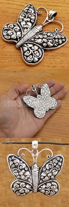 Necklaces and Pendants 98511: Ss16 Nepalese Artisan Handmade Repousse Sterling Silver 925 Butterfly Pendant -> BUY IT NOW ONLY: $79.99 on eBay!