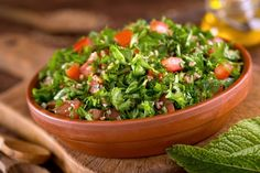 Cucumber and parsley are an exciting addition to this famous Middle Eastern salad of plumped bulgur (it doesn't require any cooking, just soaking in boiling water) and Bulgur Salad, Lebanese Recipes, Collard Greens, Vegetable Stock, Healthy Salads, Fresh Herbs, Food Fresh, Seaweed Salad, Carne Asada