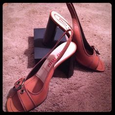 Miu Miu Platform Heels Beautiful open toe platform sling backs in excellent condition. Worn 3 times.  Sz. EU 39  US 9 Miu Miu Shoes Heels