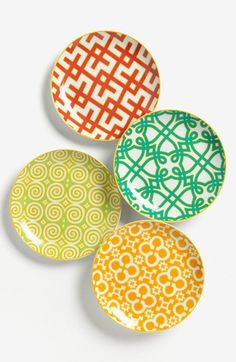 Beautiful Moroccan inspired print round Porcelain Appetizer Plates (Set of Ceramic Plates, Ceramic Pottery, Decorative Plates, Appetizer Plates, Dinner Plates, Dinner Ware, Dessert Plates, Plates And Bowls, Plates On Wall