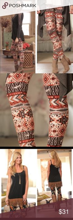 NWT Tribal Leggings! Come get them!!!! NWT from the crazy popular new brand Infinity Raine!  Boho at its finest!  These leggings are One size fits most and works great on s-large.  They have endless options!  Toss aside your boring black leggings and spice up your life with a little color!  I carry many items from the Infinity Raine line, so be sure and check my closet!  Super high quality clothing!  Last pic is Pantones fall forecast of colors for fall 2016! Right on trend Infinity Raine…