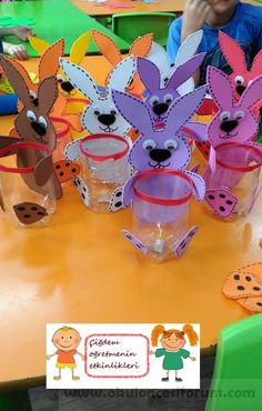 Tavşan Kalemlik :) – Back to School Crafts – Grandcrafter – DIY Christmas Ideas ♥ Homes Decoration Ideas Spring Crafts For Kids, Crafts For Kids To Make, Art For Kids, Diy And Crafts, Paper Crafts, Basket Crafts, Bunny Crafts, Back To School Crafts, Plastic Bottle Crafts