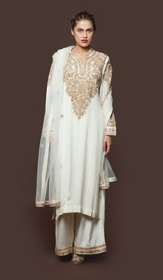 Pankaj and Nidhi Ahuja Ivory long sleeve crepe palazzo set with golden thread embroidery infront and back and on sleeves