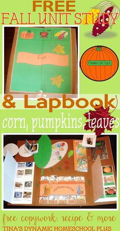 Free Fall Unit Study & Lapbook. Minibooks about pumpkins,leaves corn and MORE @ Tina's Dynamic Homeschool Plus