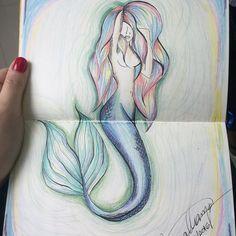 Sereia feita com lápis de cor e canetinha 0.5mm . #draw #drawings #sketch #desenho #esboço #artist #artista #creativity #criatividade #instaart #instart #artgram #artoftheday #art #creative #arte #sereia #mermaid #siren #sea #pencildrawing #rainbowhair