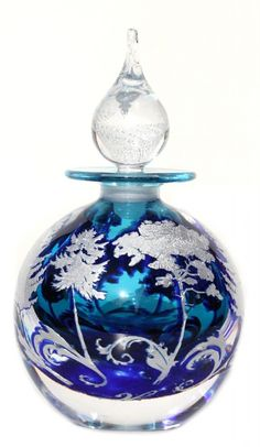 Graal aqua treescape bottle | Perfume-bottles | J H Studio Glass