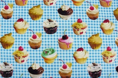 """Cupcake fabric. 100% cotton.  44"""" wide. Japanese import.  Kokka. https://www.etsy.com/listing/154452612/cupcakes-from-kokka-100-cotton-44-wide-1"""