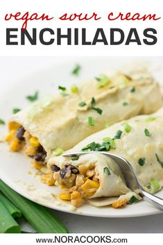 These rich and creamy sour cream enchiladas are dairy free and full of vegetables! Everyone will be begging for seconds. Vegan Mexican Recipes, Vegetarian Recipes Dinner, Delicious Vegan Recipes, Vegan Dinners, Easy Healthy Recipes, Whole Food Recipes, Cooking Recipes, Sour Cream Enchiladas, Vegan Sour Cream