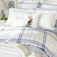 360 Ralph Lauren Cottage Hill Blue White Bold Plaid Full Queen Comforter NEW Home Bedroom, Bedroom Decor, White Cottage, White Decor, Beautiful Bedrooms, Comforter Sets, Home Textile, Bunt, Bed Pillows