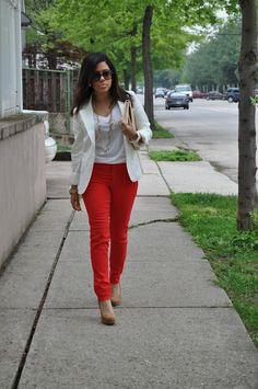 red skinnies & white blazer