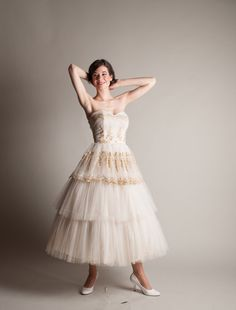 Vintage 1950s Wedding Dress  Tulle 50s Dess  by concettascloset, $364.00 / vintage / one of a kind wedding dress
