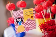 Snow white apple cake pops at a Disney Princess Party via Kara's Party Ideas | Kara'sPartyIdeas.com #DisneyPrincess #PartyIdeas #Supplies #Decorations